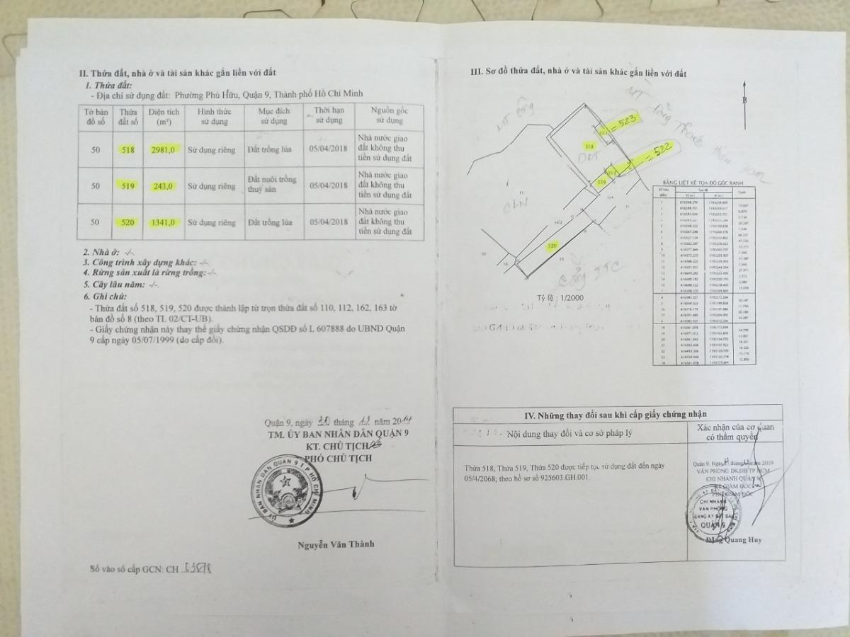 Bán đất dt 6300m2 đối diện cảng ITC Q9, giá 20tr/m2